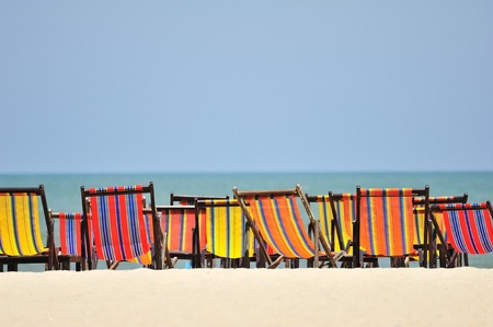 Beach chairs colorful  at Hua Hin Thailand photo