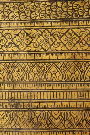 Seamless Thailand Lanna style fine art on doors temple. Stock Photo - 13320114