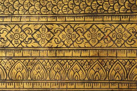 Seamless Thailand Lanna style fine art on doors temple. Stock Photo - 13320113