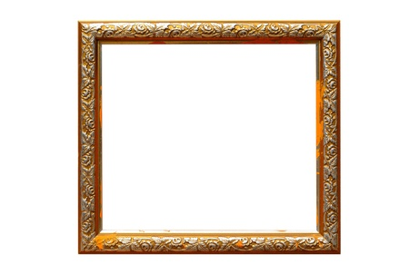 Antique frame;Contaminated dirt poor condition. isolated on white background photo