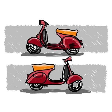 vespa piaggio: Scooter stile classico, illustrazione.
