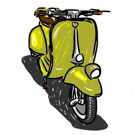 vespa piaggio: Scooter in stile classico, illustrazione