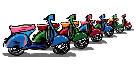 restored: Scooter classic style, illustration.