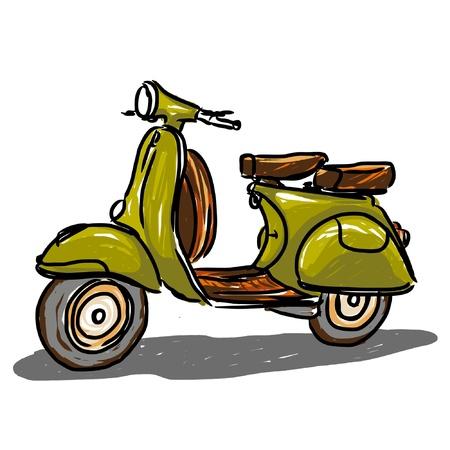 Scooter klassieke stijl, illustratie