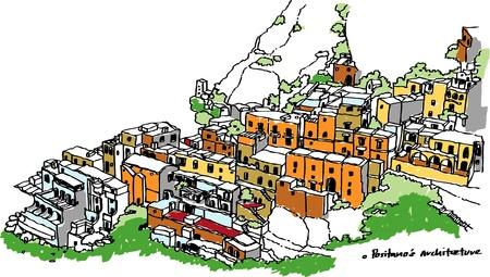 positano: Town of Positano:Amalfi  Italy illustration Illustration