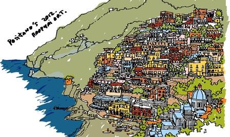 Miasto Positano: Amalfi WÅ'ochy ilustracja Ilustracja