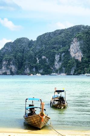 Transportation boat ,Location PHI PHI beach ,Krabi Thailand. photo