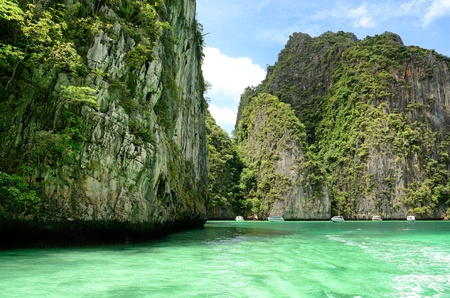 PHI PHI ZONE Is a popular activity  ; Areas to snorkel the coral reefs, Location Krabi Thailand. photo