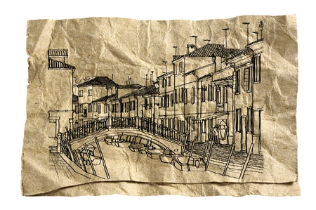 Venice illustration on grunge paper Stock Illustration - 14243267