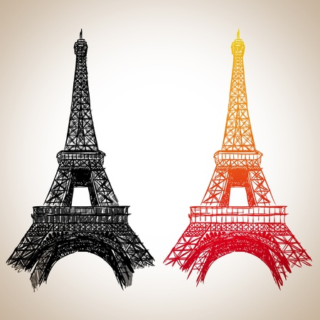 construction paper art: Torre Eiffel