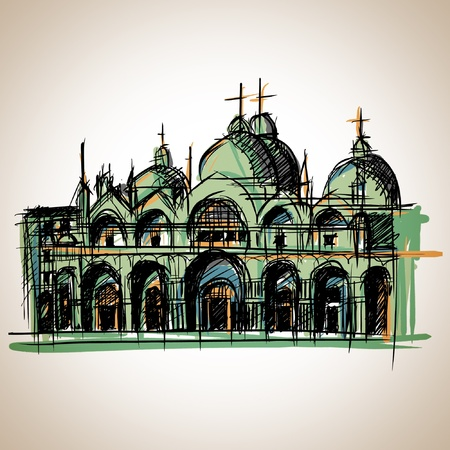 Church Venice sketch Vector