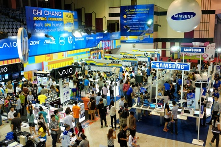CHIANG MAI THAILAND-JULY 7 : Computer Mobile Expo 2012.People come to buy computer equipment and technology in the year. at Chiang Mai University Auditorium.on July 7,2012 in Chiangmai Thailand.