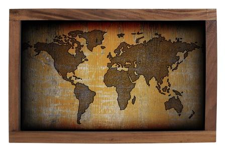 World map frame isolated on white background  photo