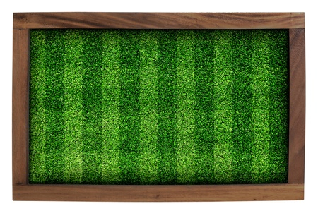 Wood frame and artificial turf green isolated on white background  Stock Photo - 14372203