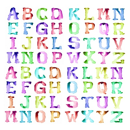 Alphabet write by watercolors modern style photo