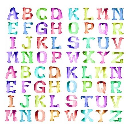 alphabet graffiti: Escritura del alfabeto de estilo de acuarelas modernas