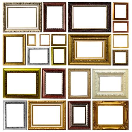 Baroque picture frame: Cadre antique isol� sur fond blanc Banque d'images