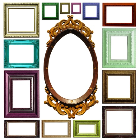 Antique frame isolated on white background photo