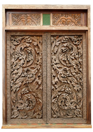 Ancient wood doors Lanna Thai style  photo
