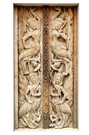 Ancient wood doors : Lanna Thai contemporary style photo