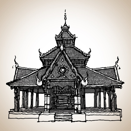 Thailand temple sketchbook Stock Vector - 14530721