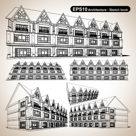 Architecture sketch book ; illustration vector  Vector