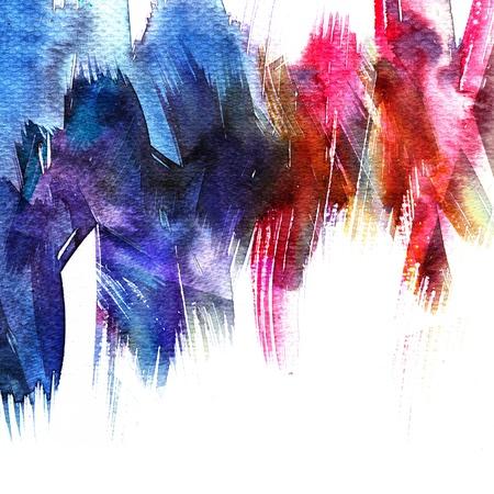 抽象的なストライプの水彩画。色乾燥したペーパーにウェット