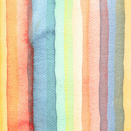 Abstract stripe watercolors ; colors wet on dry paper