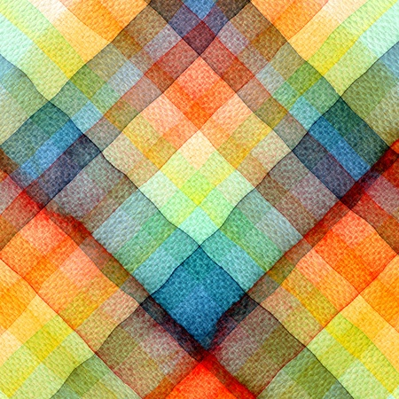Abstract tartan watercolors ; colors wet on dry paper