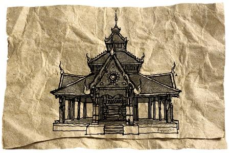 lanna: Wat Pong Sanook Lampang Province ; Thailand temple sketchbook