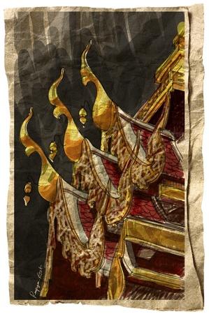 Wat Pong Sanook Lampang Province ; Thailand temple sketchbook Stock Photo - 14882275