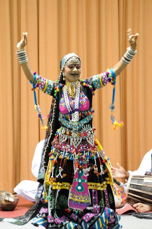 CHIANGMAI,THAILAND-AUGUST 17:Cultural Performance byFolk Artists from Rajasthan.This cultural exchange within the university on August 17,2012 in Chiangmai university,Thailand.