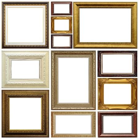 Antieke frame geïsoleerd op witte achtergrond Stockfoto