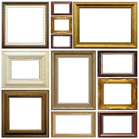 gallery interior: Antique frame isolated on white background