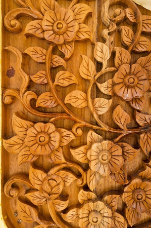 Wood Thai pattern Handmade wood carvings. photo