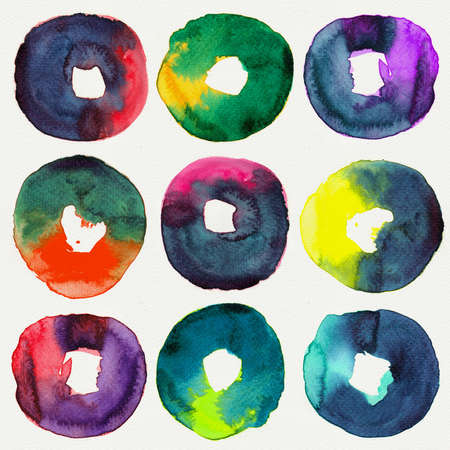Abstract donut watercolors : illustration collection for graphic. illustration