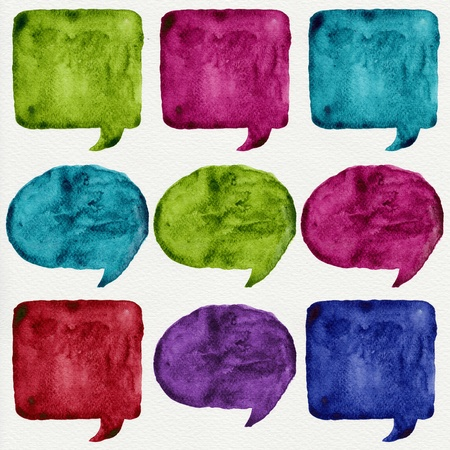 Watercolor paint speech bubble : illustration on paper art. Stock Photo