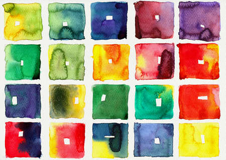 Abstract square watercolors   illustration on paper illustration