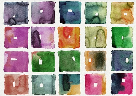 paint box: Abstract square watercolors : illustration on paper Stock Photo