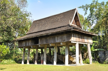 Thailand Lanna architecture   building used for the storage of agricultural products  To prevent animals from destroying things must be kept high  photo