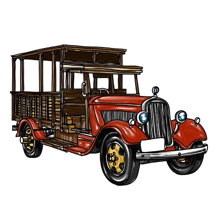 old truck: Ancient car sketchbook : vector illustration