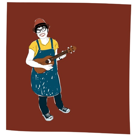 ukulele: Girl sing and Ukulele : sketchbook vector Illustration