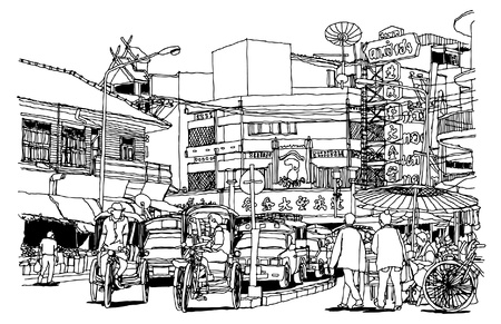 architectural drawing: Street life sketchbook : Warorot market Chiangmai Thailand. Illustration