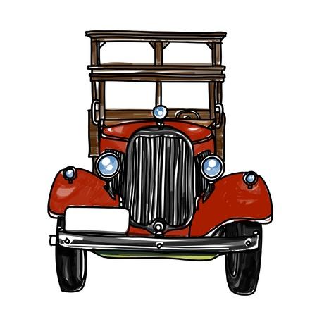 car leaf: Ancient car sketchbook : vector illustration