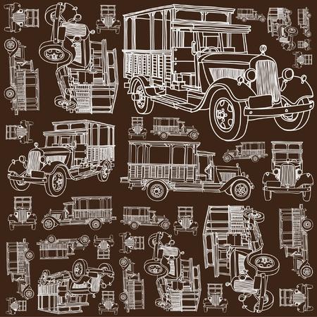 Jednolite wzór antyczny ciężarówka Ilustracja