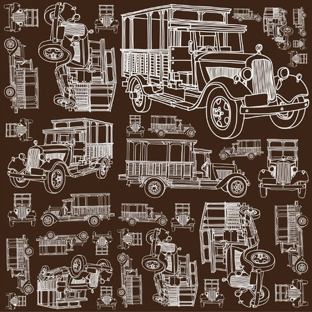 antique background: Seamless ancient truck pattern Illustration