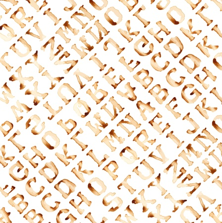 Seamless alphabet : vector pattern coffee stain concept. Vector