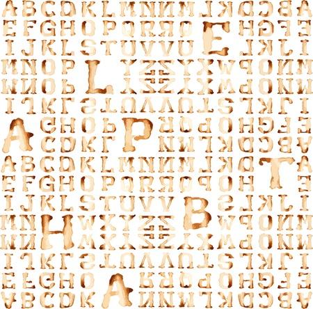 Seamless alfabet: wzór kawy wektor plamy koncepcja.