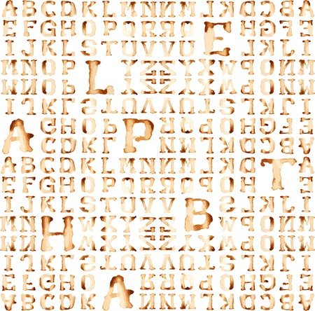 Seamless alphabet : vector pattern coffee stain concept.