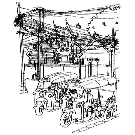 sketchbook: Street life sketchbook : vector illustration.